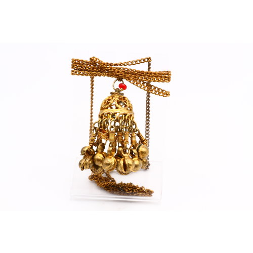 * Vintage Gold-Tone Tassel Bell Necklace