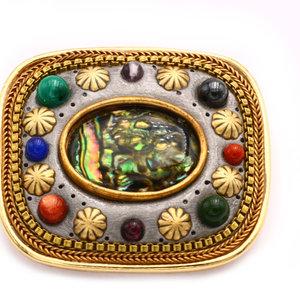 Treasures of Ojai Inlay Brass Brooch