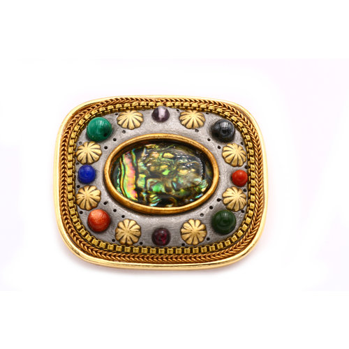 * Inlay Brass Brooch