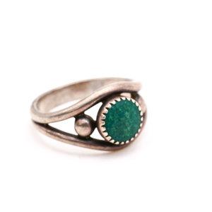 Sterling Dark Green Stone Ring Size 5