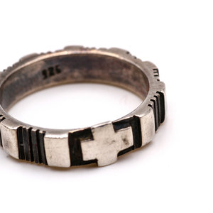 Treasures of Ojai Handsome Carved Sterling Silver Cross Ring
