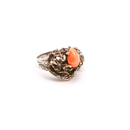 Treasures of Ojai Sterling & Angel Coral Ring S6.5