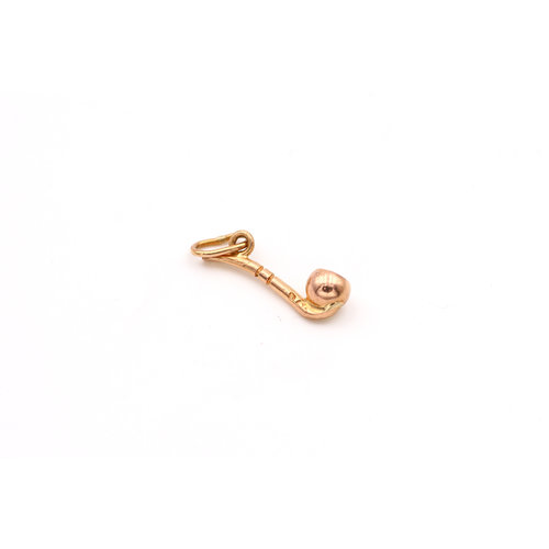 Tobacco Pipe 18k Yellow Gold Charm