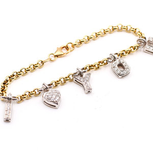 14K Diamond Charm Bracelet I Love You