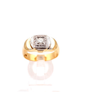 Unique Diamond Ring Set in 14k White and Yellow Gold