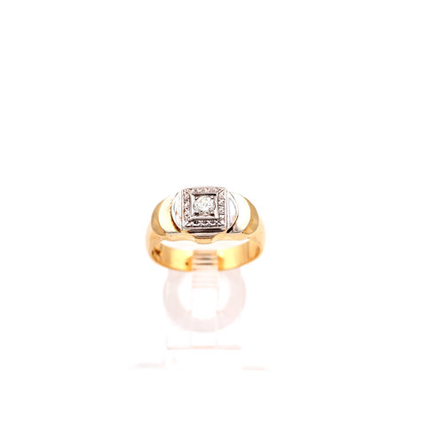 * Unique Diamond Ring Set in 14k White and Yellow Gold