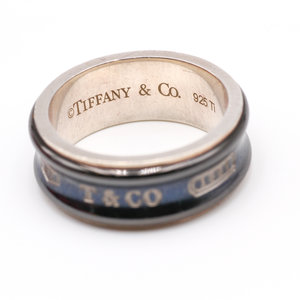 Treasures of Ojai Sterling Silver and Black Titanium Inlay Tiffany and Co. 1837 Ring