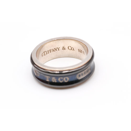 Sterling Silver and Black Titanium Inlay Tiffany and Co. 1837 Ring
