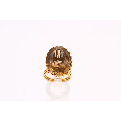 Bold Mid Century Smokey Topaz Cocktail Ring in 18K Gold