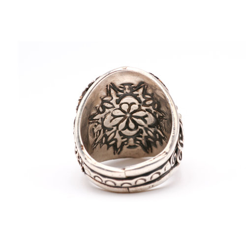 Men's Floral Design Sterling & Turquoise Ring