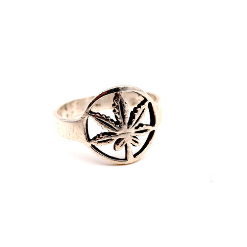 Sterling Marijuana Leaf Ring