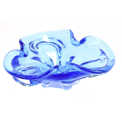 Blue Art Glass Ashtray