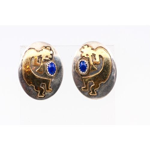 Sterling Lapis Kokopelli Earrings
