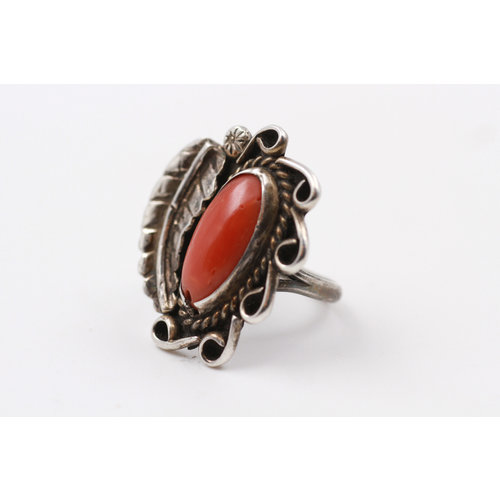 Sterling Coral Ring (6.5)
