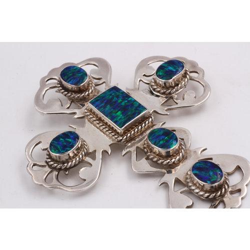 Sterling Cross w/ Australian Blue Opal