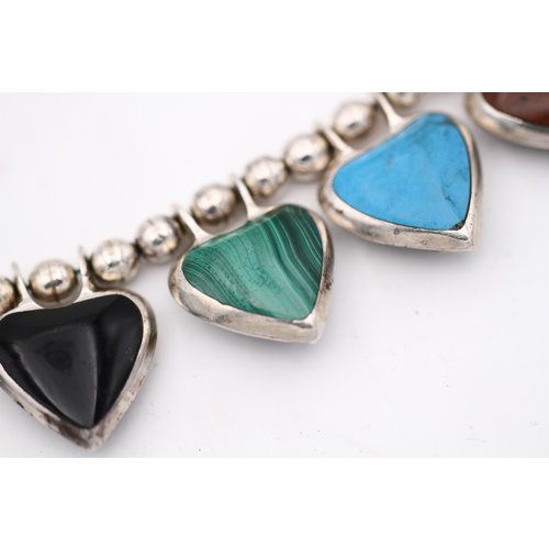 .950 Sterling Reversible Multi Stone Heart Necklace