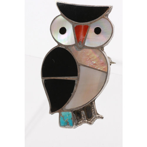 * Sterling w/ Stone Inlay Owl Pin