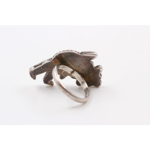 Sterling Turq Coral Onyx Dancer Ring (6.5)