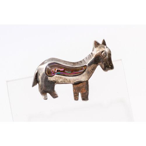* Sterling Abalone Donkey Pin