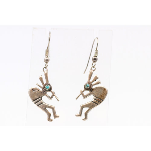 Sterling Turquoise Kokopelli Earrings