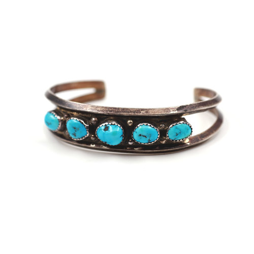 Sterling 5 Stone Turquoise Cuff