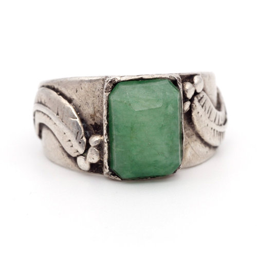* Primitive Sterling & Jadeite Ring (13)