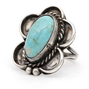 * Sterling & Turquoise Concho Ring (5.5)