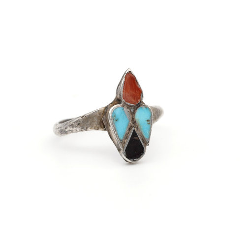 * Native American Sterling Turquoise Coral and Onyx Ring (6)