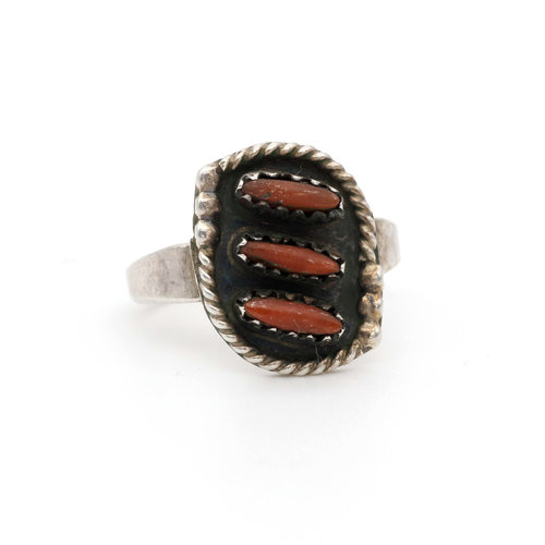 * Native American Sterling & Coral Ring (7)