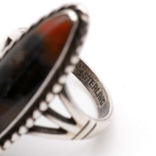 * Native American Style Sterling and Pictoral Jasper Ring (8.5)