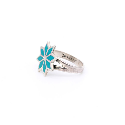 * Sterling & Turquoise Flower Ring (6)