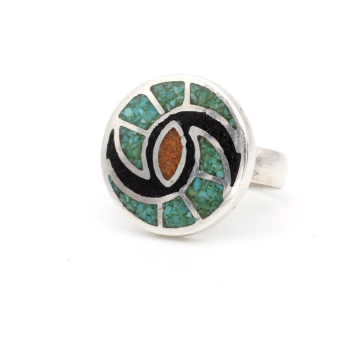 * Native American Coral & Turquoise Ring (6)