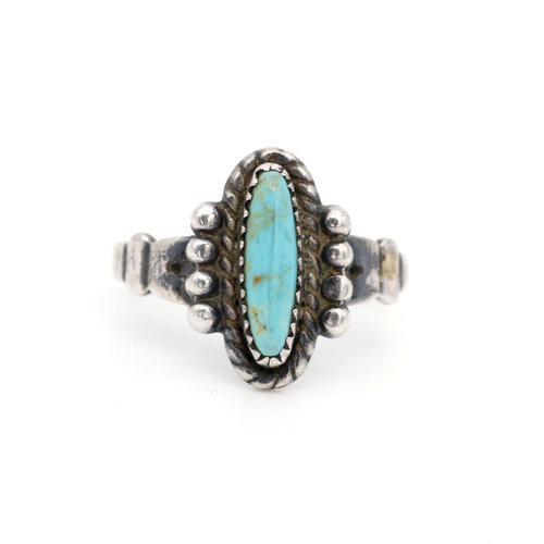 * Southwest Style Sterling & Turquoise Ring (5.5)