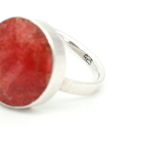 * Modernist Style Sterling Silver and Coral Ring (8.5)