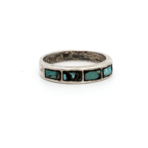 * Sterling & Inlaid Turquoise Band (7)