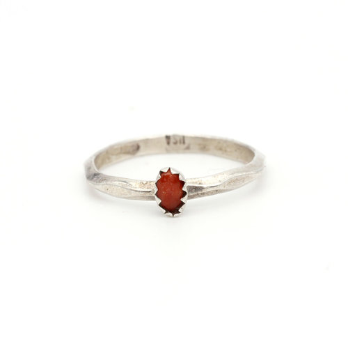* Sterling & Coral Ring (7.25)