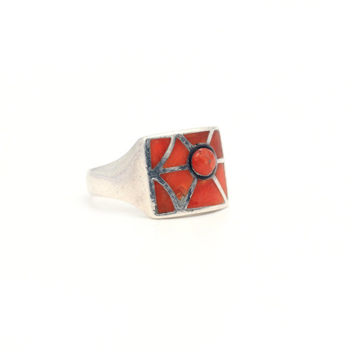 * Modernist Sterling & Inlaid Coral Ring (8)