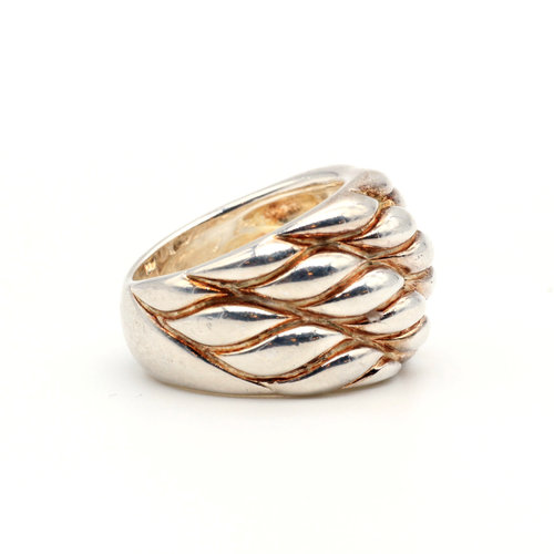 * Modernist Sterling Quilted Ring (6.5)