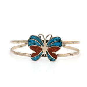 * Inlay Coral and Turquoise Sterling Butterfly Cuff