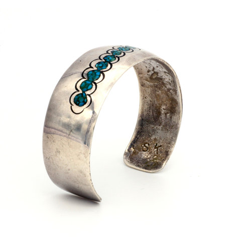 * Navajo Turquoise Inlay Sterling Cuff