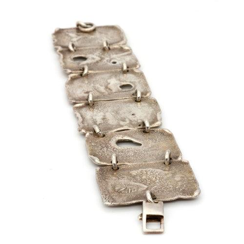 * Brutalist Cast Sterling Silver Tile Bracelet