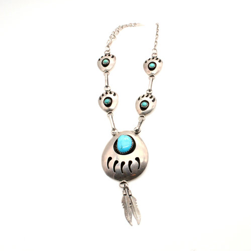 Sterling Turquoise Bear Paw Concho Necklace