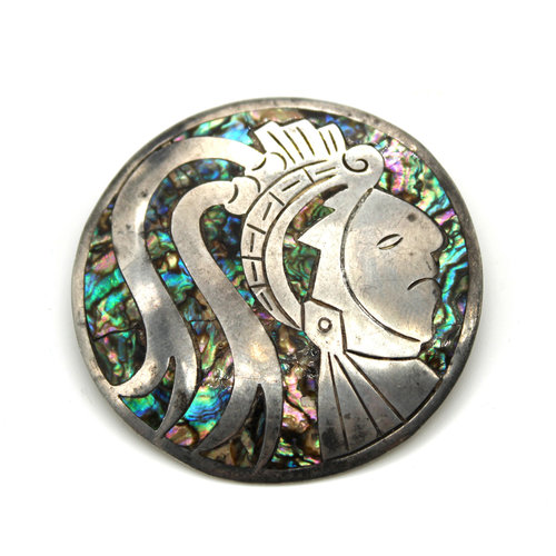 Sterling Abalone Aztec Brooch