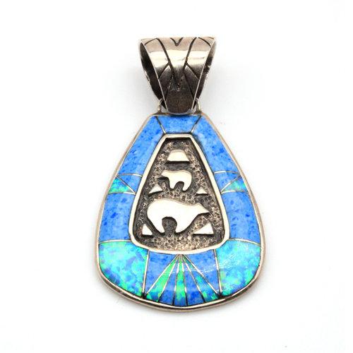 Sterling Turquoise Opal Walking Bear Pendant