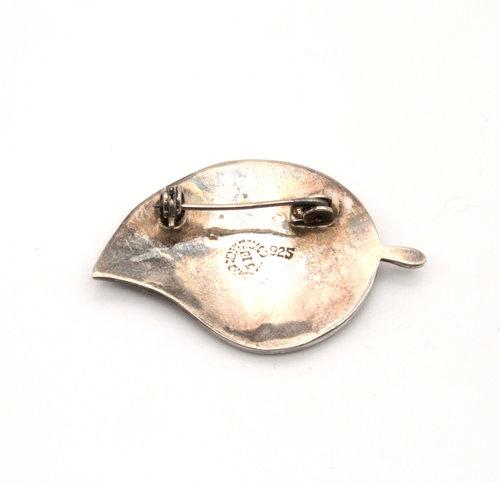 Sterling Abalone Leaf Brooch