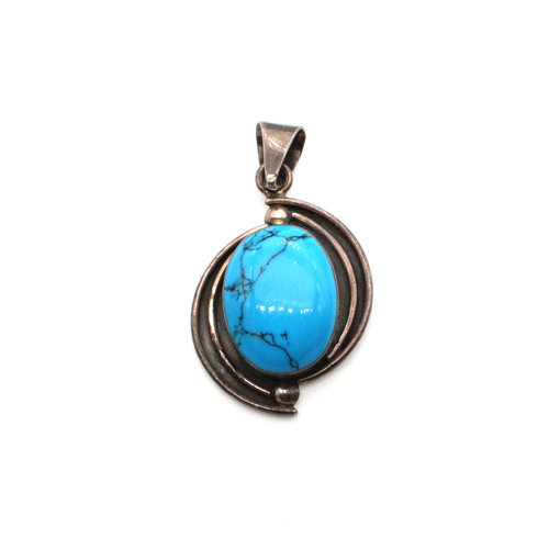 Sterling Turquoise Drop Pendant
