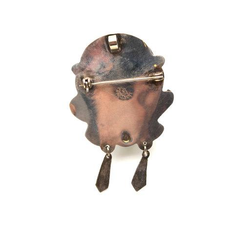 Sterling Mexican Jade Mask Brooch