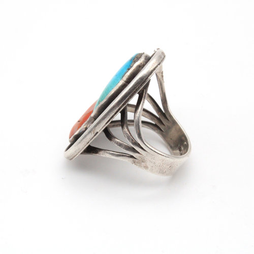 Sterling Coral Turquoise Ring