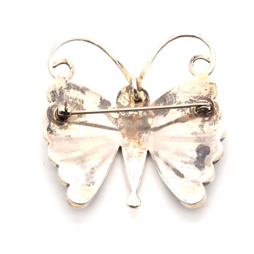 Sterling Zuni Sara Edaakie Multi Stone Butterfly