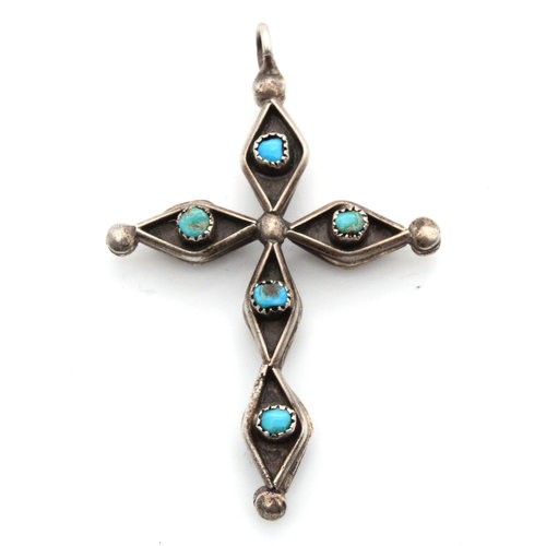 Sterling Turquoise Red Coral Cross Pendant